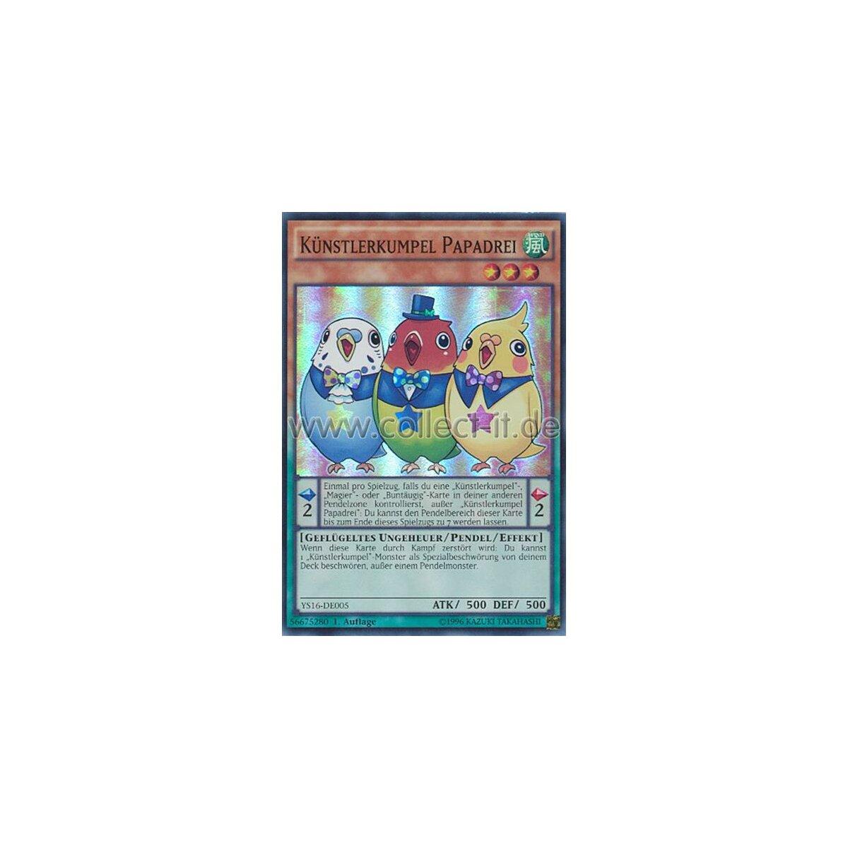 Yu-Gi-Oh! Sammelkartenspiel YS16-DE005 Künstlerkumpel Papadrei   Super Rare 1.Auflage Neu