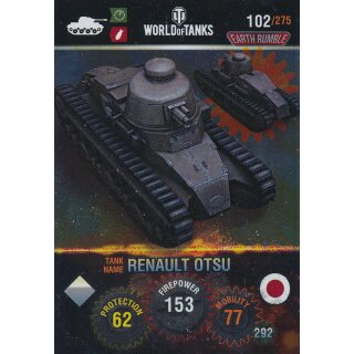 Nr. 102 - World of Tanks - Renault otsu (Metal card) - Nation und Tank cards