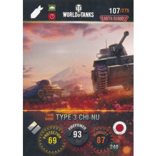 Nr. 107 - World of Tanks - Type 3 CHI-NU - Nation und Tank cards
