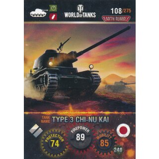 Nr. 108 - World of Tanks - Type 3 CHI-NU KAI - Nation und Tank cards