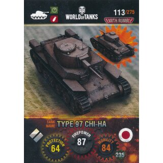 Nr. 113 - World of Tanks - Type 97 CHI-HA - Nation und Tank cards
