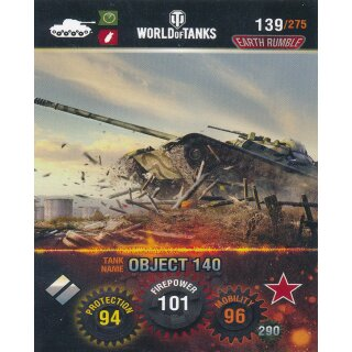 Nr. 139 - World of Tanks - Object 140 - Nation und Tank cards