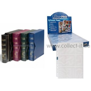 Leuchtturm Ring-Binder (BLAU) + 100 Ultra Pro 9-Pocket Silver Series Pages Ordnerseiten Album - Pokemon - Magic - Yu-Gi-Oh! - Match Attax - Force Attax - Force of Will
