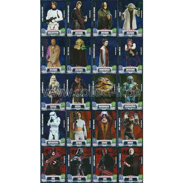 Force Attax Movie Card Serie 2 alle 20 Star Karten komplett Topps Star Wars
