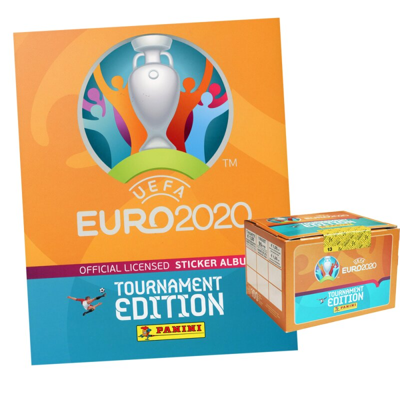 Panini Euro 2020 Tournament 2021 - Sammelsticker - 1 Display (100 Tüten) + 1 Hard-Cover Album