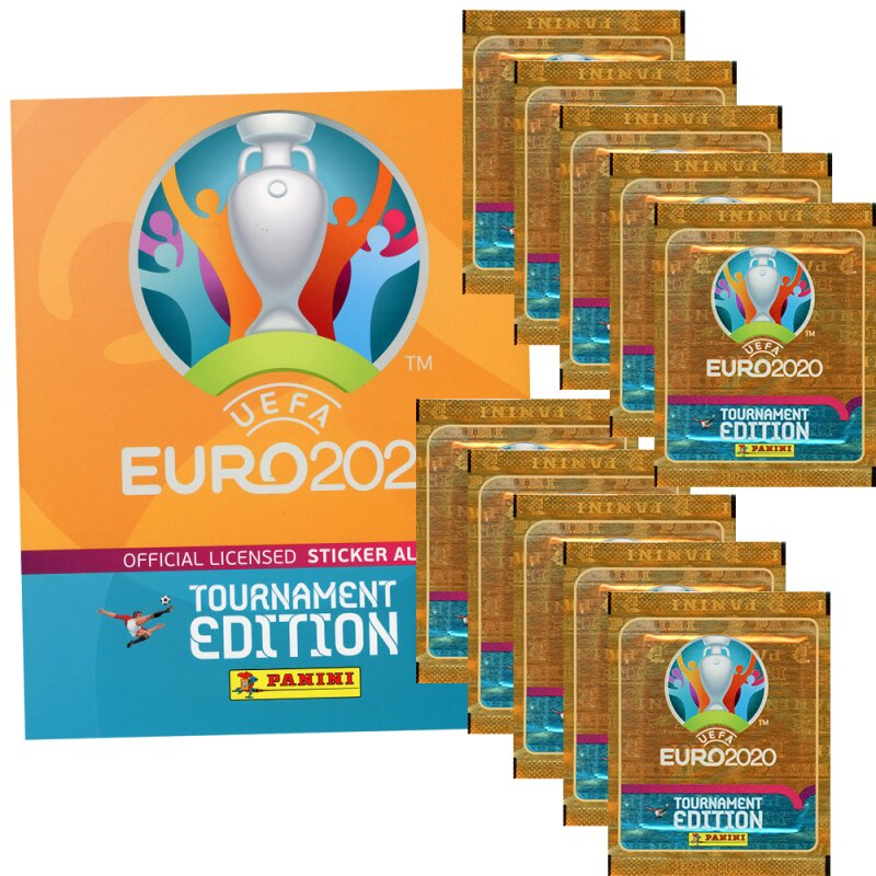 Panini Euro 2020 Tournament 2021 - Sammelsticker - 1 Album + 10 Tüten